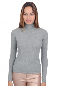 Cashmere  ladies roll neck jade premium