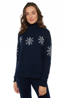 Cashmere  ladies roll neck neige