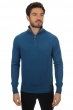 Cashmere men polo style sweaters petyr canard blue   dove chine l