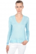 cashmere  silk ladies v necks arleen aqua blue chine xs