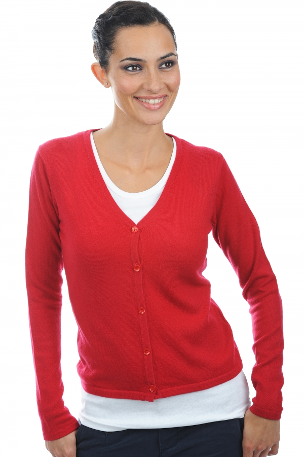 Cashmere ladies cardigans ernestine blood red s