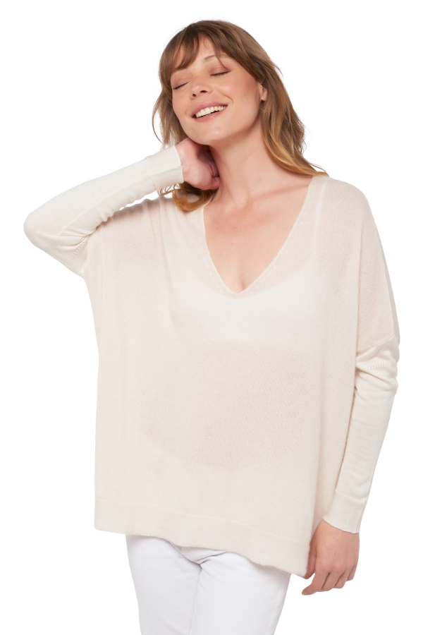 Cashmere ladies v necks bloh ecru   ivory one size