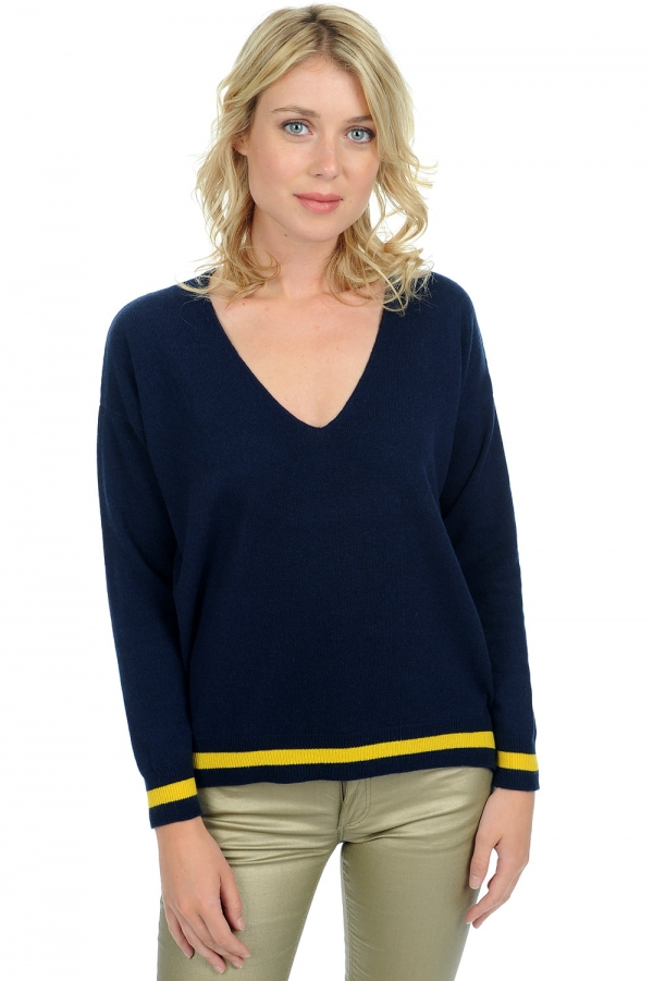 Cashmere ladies v necks leisha dress blue l