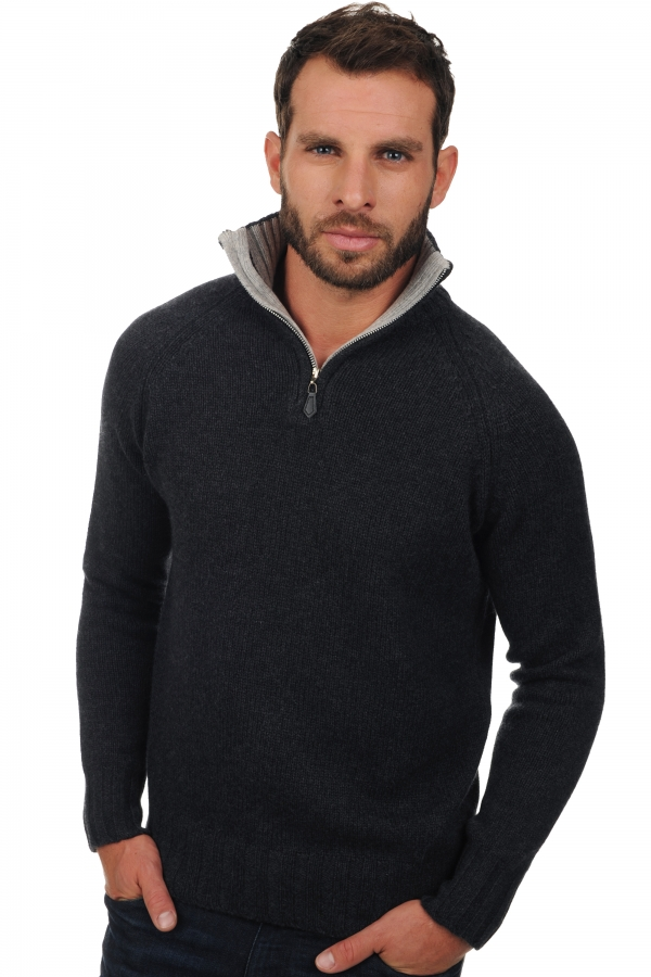 Cashmere men polo style sweaters olivier charcoal marl flanelle chine xxxxl