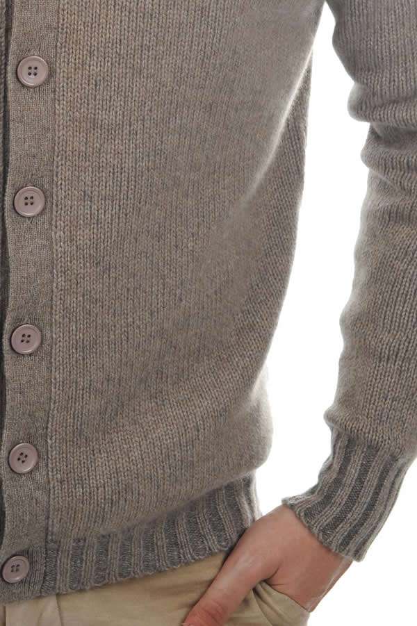 Cashmere men waistcoat sleeveless sweaters jo natural brown dove chine m