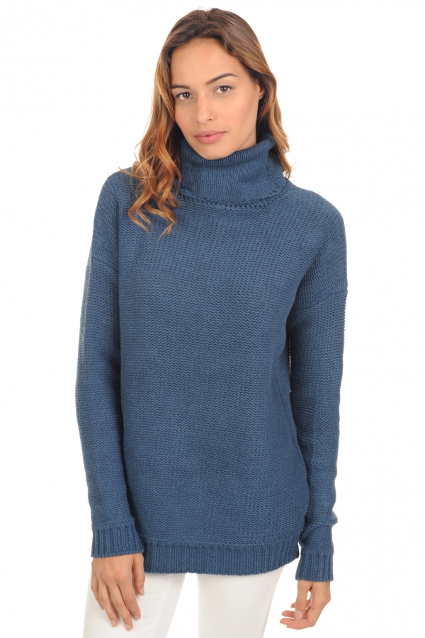 Yak ladies polo necks ygritte stellar blue s3