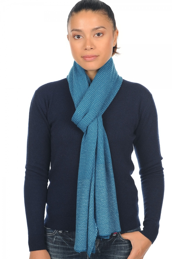 cashmere accessories scarves  mufflers lino canard blue teal blue 190 x 35 cm