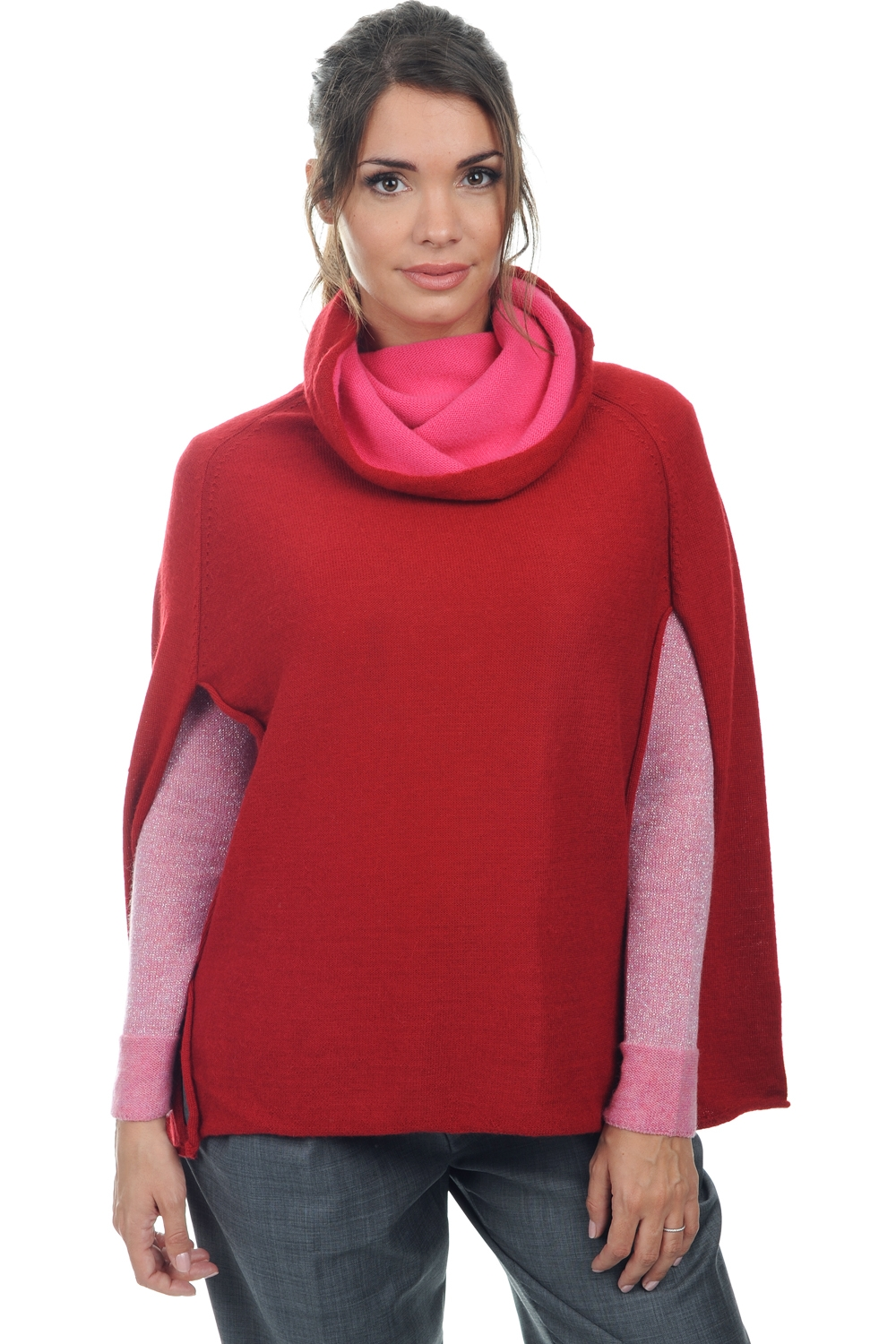 ladies ponchos briana red one size