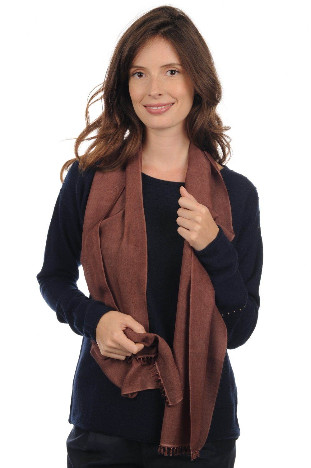 Cashmere & Silk accessories scarves  mufflers scarva cacao 170x25cm