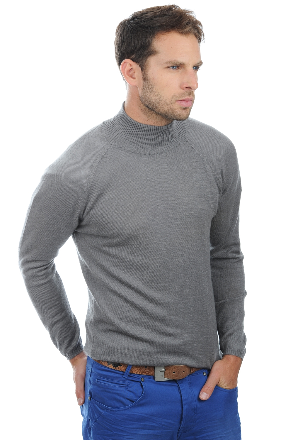Cashmere Duvet men roll neck paoli steel gray xs