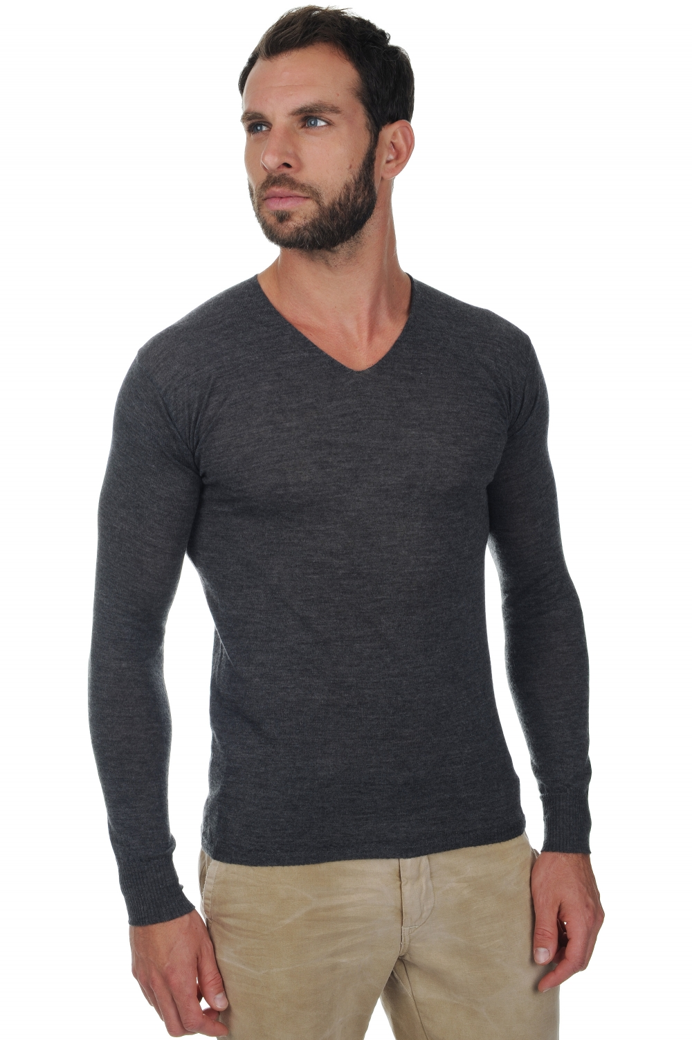 Cashmere Duvet men v necks josh charcoal xs