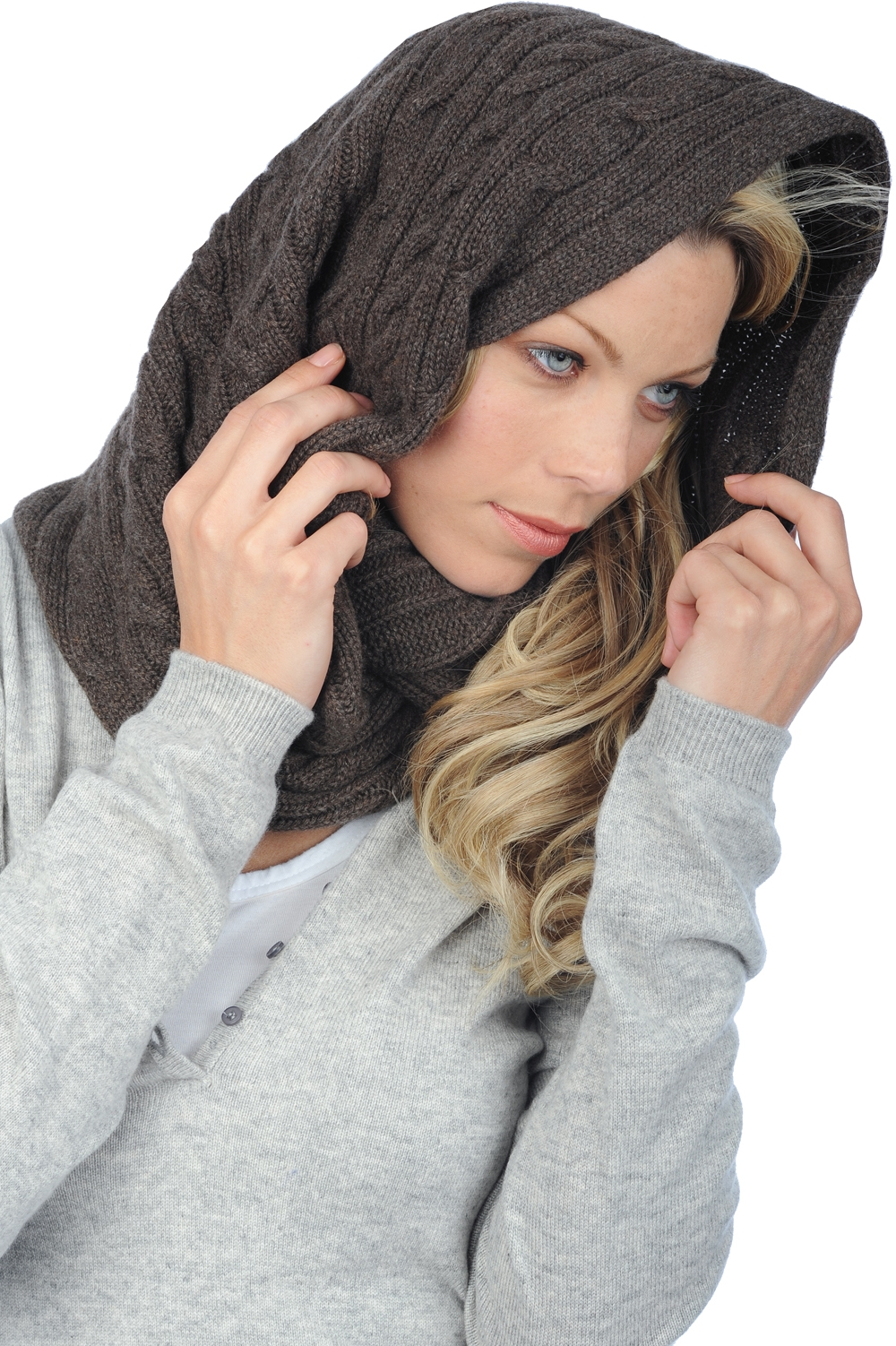 Cashmere accessories snood polly marron chine 65x50cm
