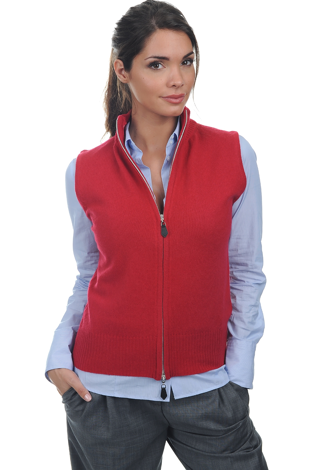 Cashmere ladies cardigans zaza blood red l