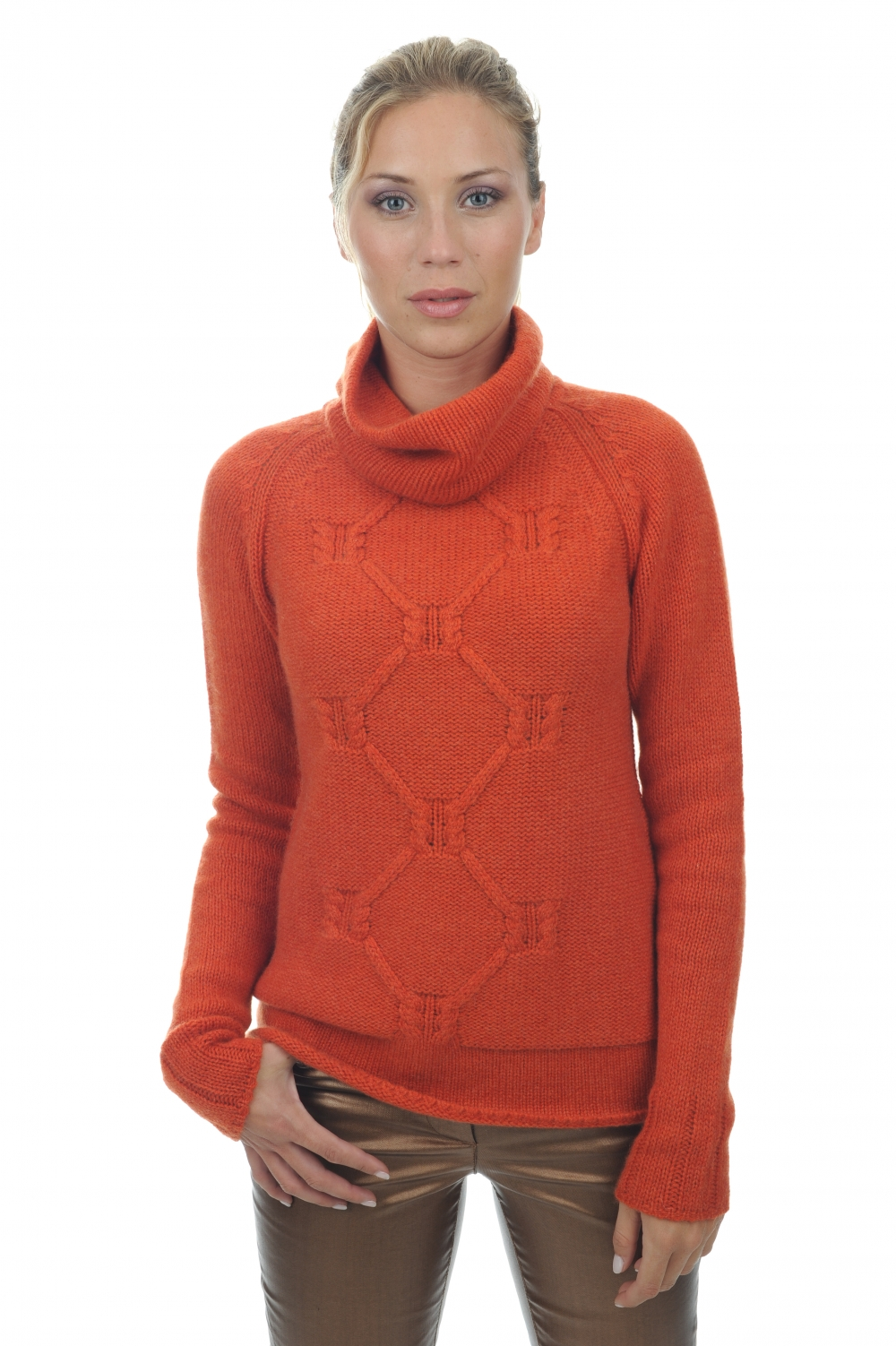 Cashmere ladies polo necks april paprika s