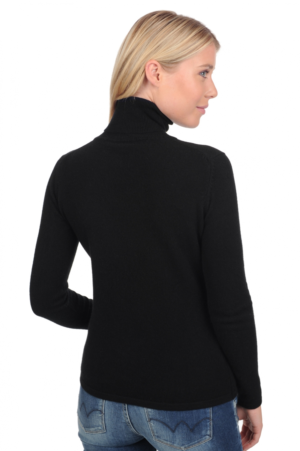 Cashmere ladies polo necks jade premium black m