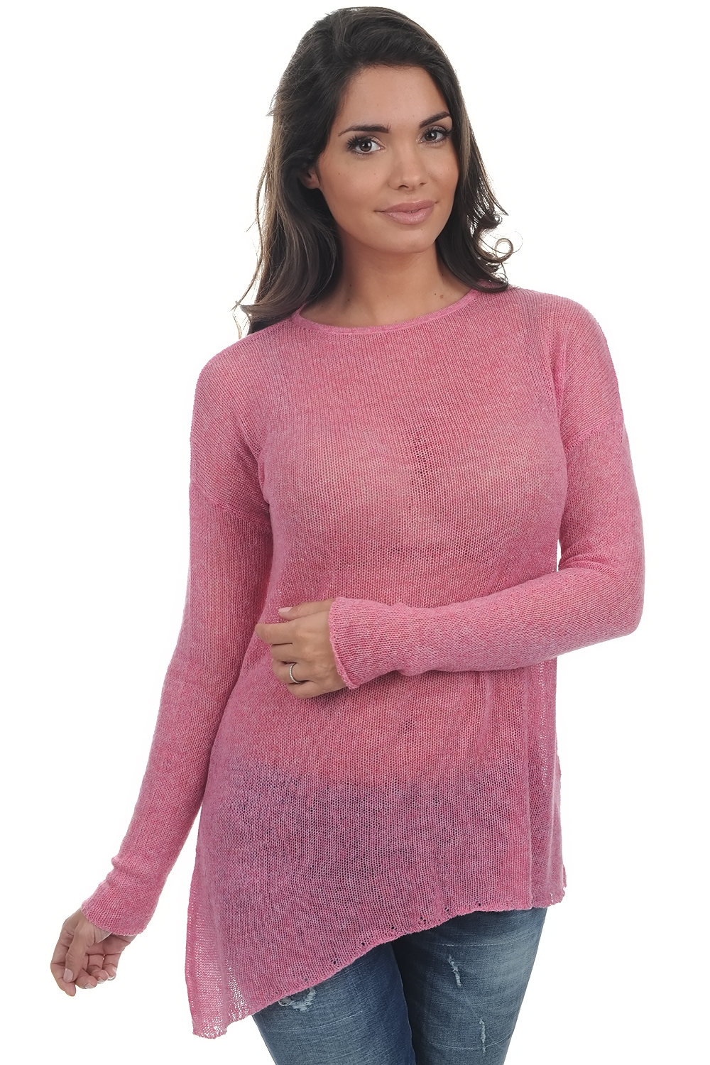 Cashmere ladies round necks adjani bubble gum xs