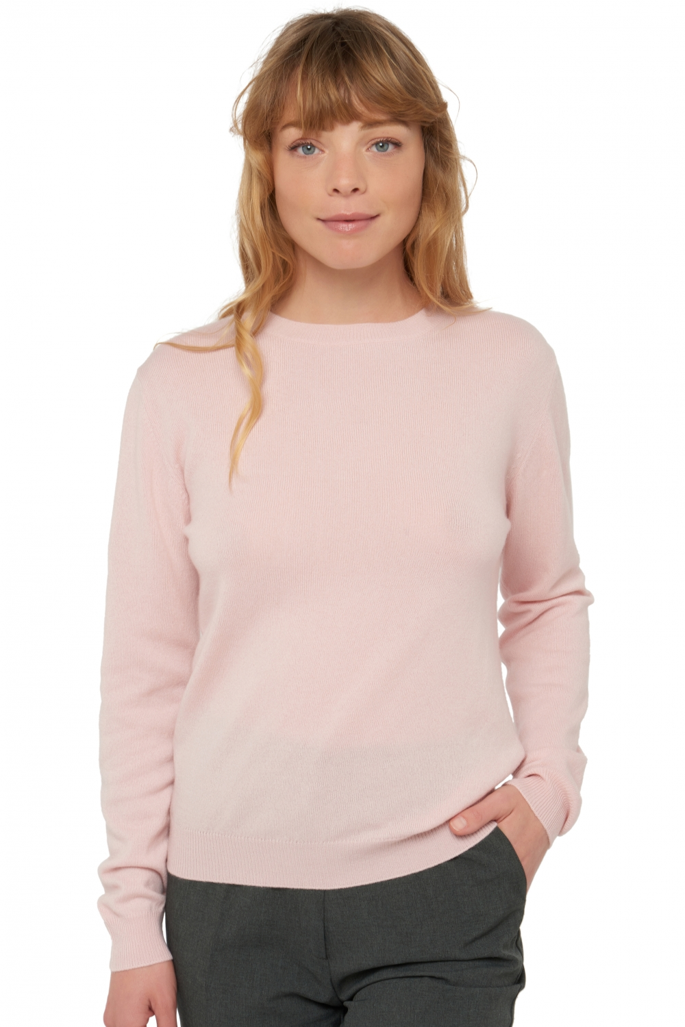 Cashmere ladies round necks raison shinking violet m