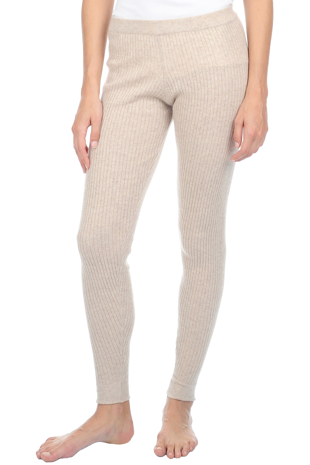 Cashmere ladies trousers leggings yara vintage beige chine l