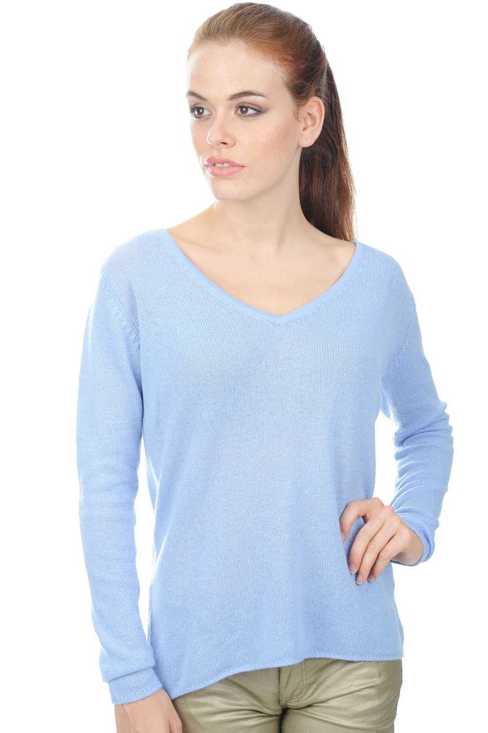 Cashmere ladies v necks flavie kentucky blue s