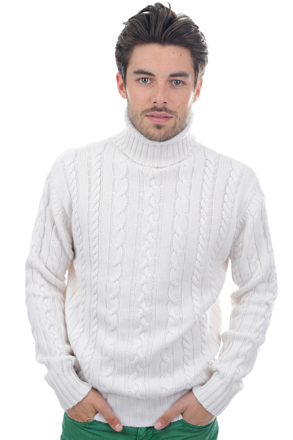 Cashmere men polo necks lucas off white m