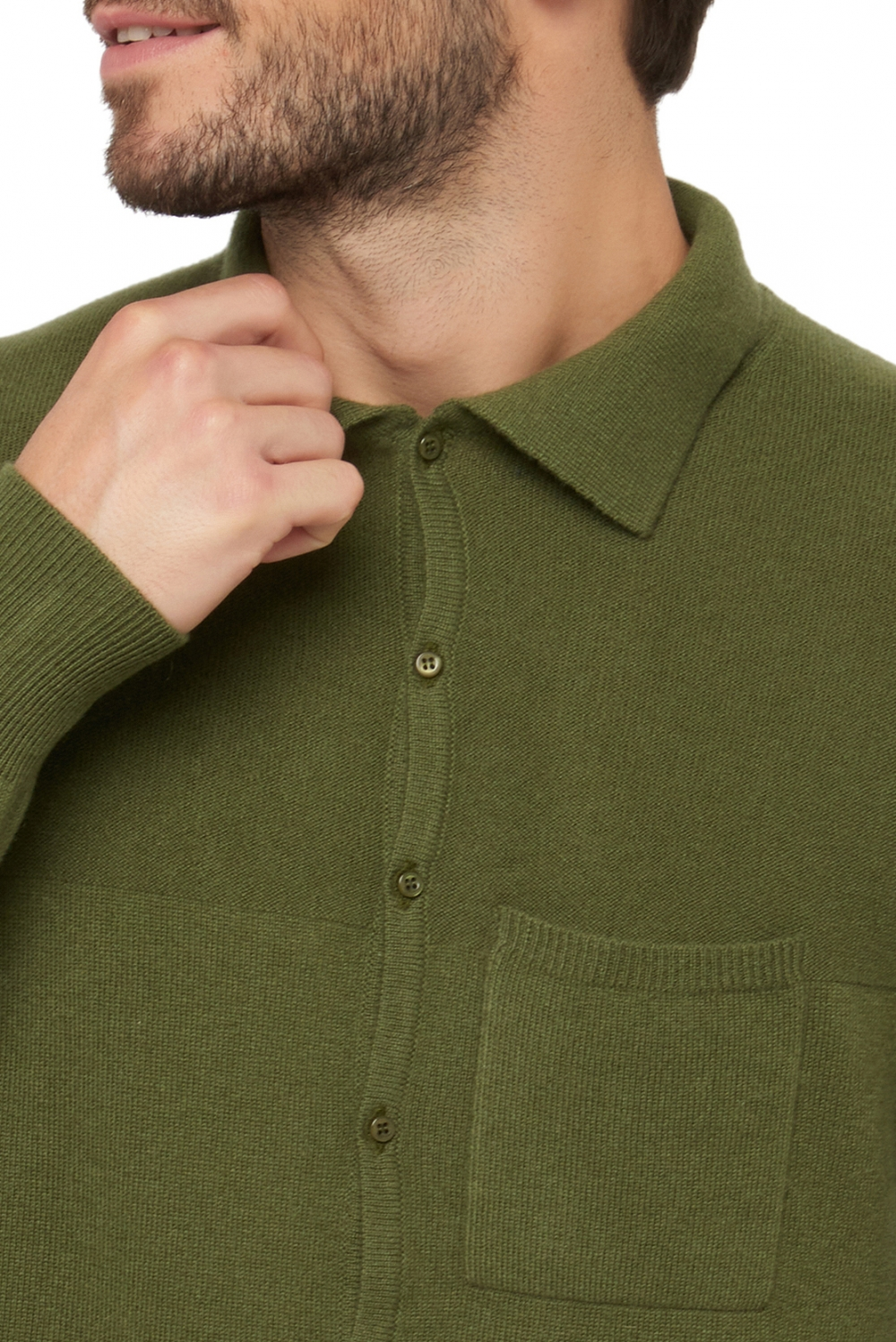 Cashmere men polo style sweaters aureo ivy green l