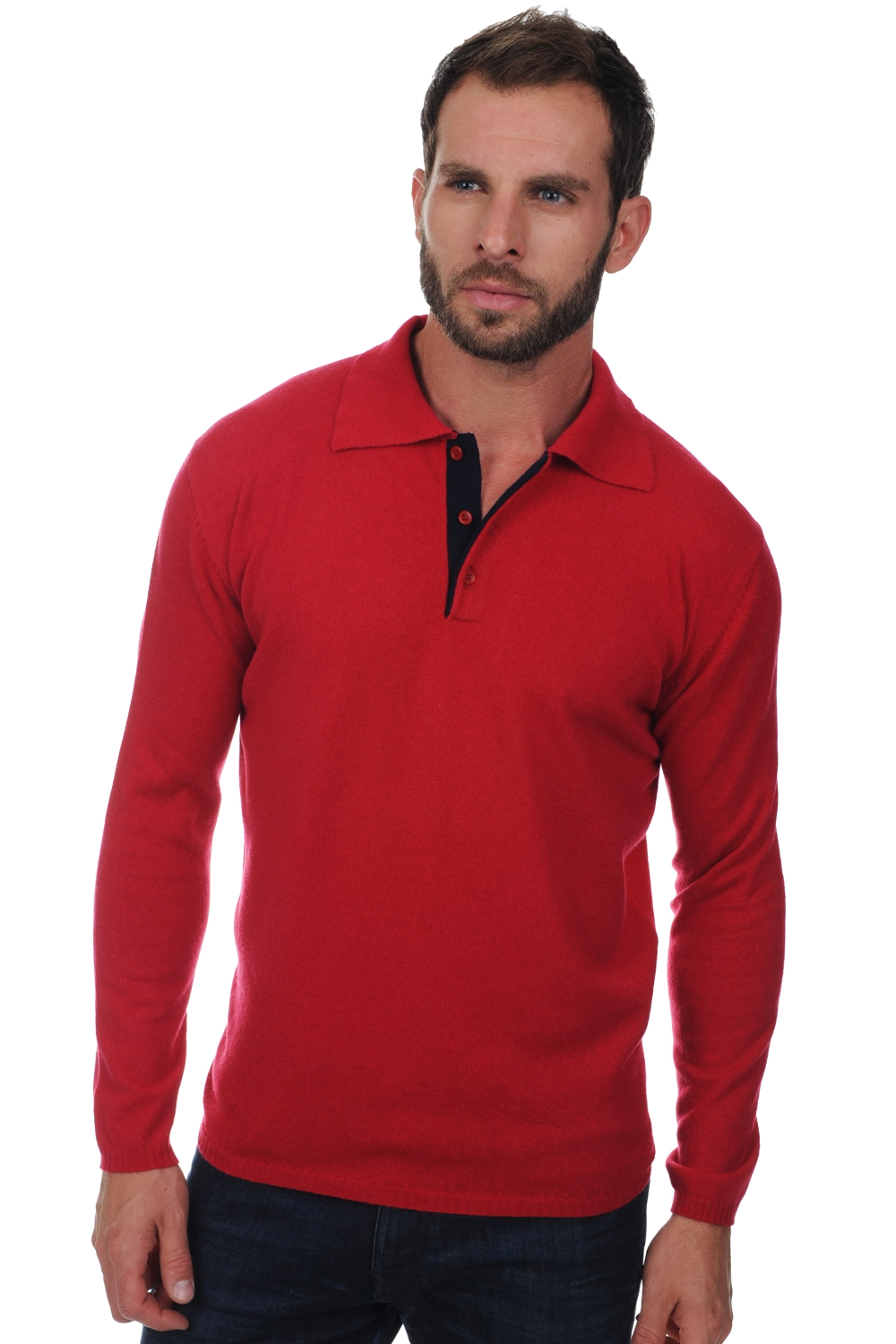 Cashmere men polo style sweaters scott blood red dark navy m