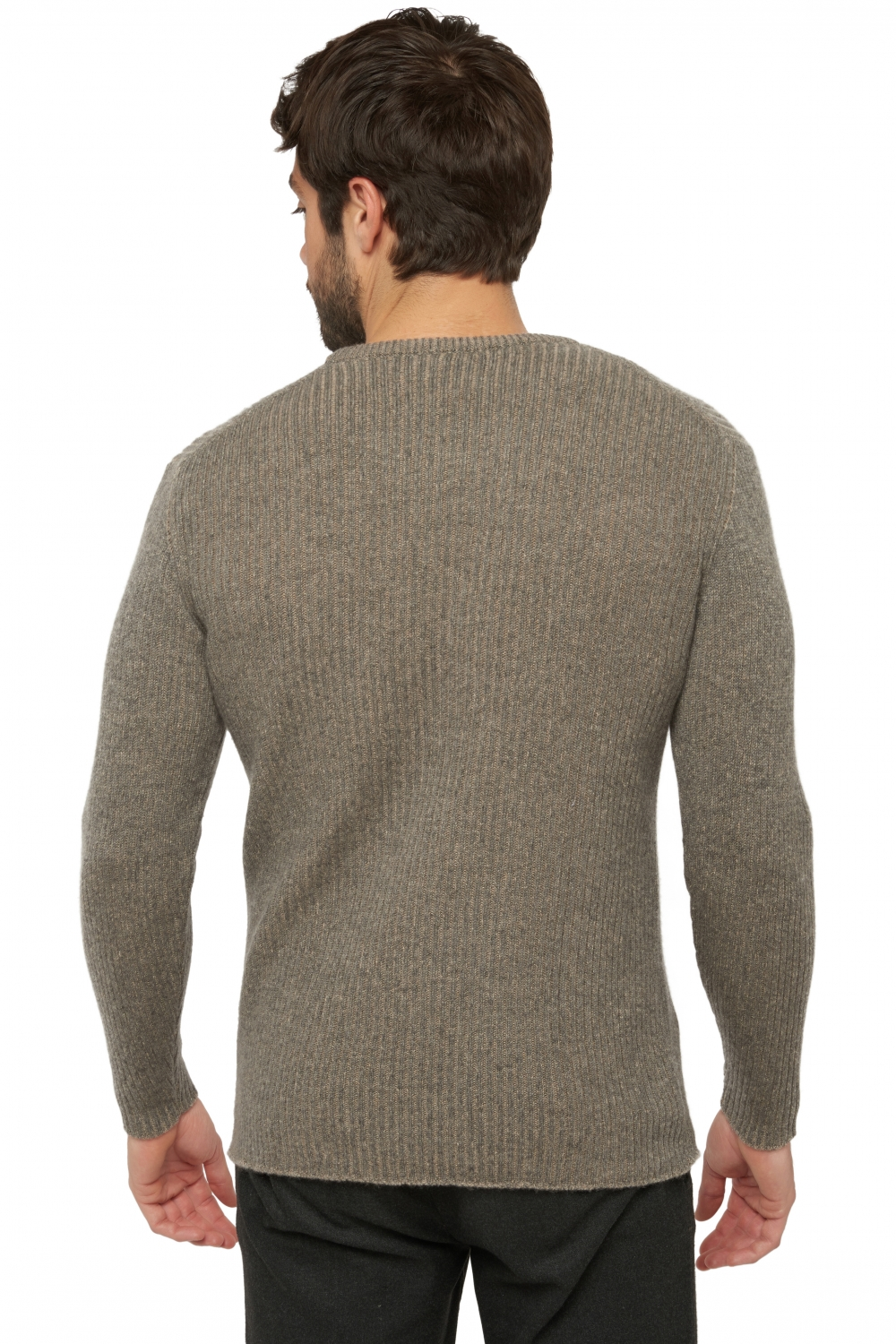 Cashmere men round necks jojen dove chine   natural brown xl