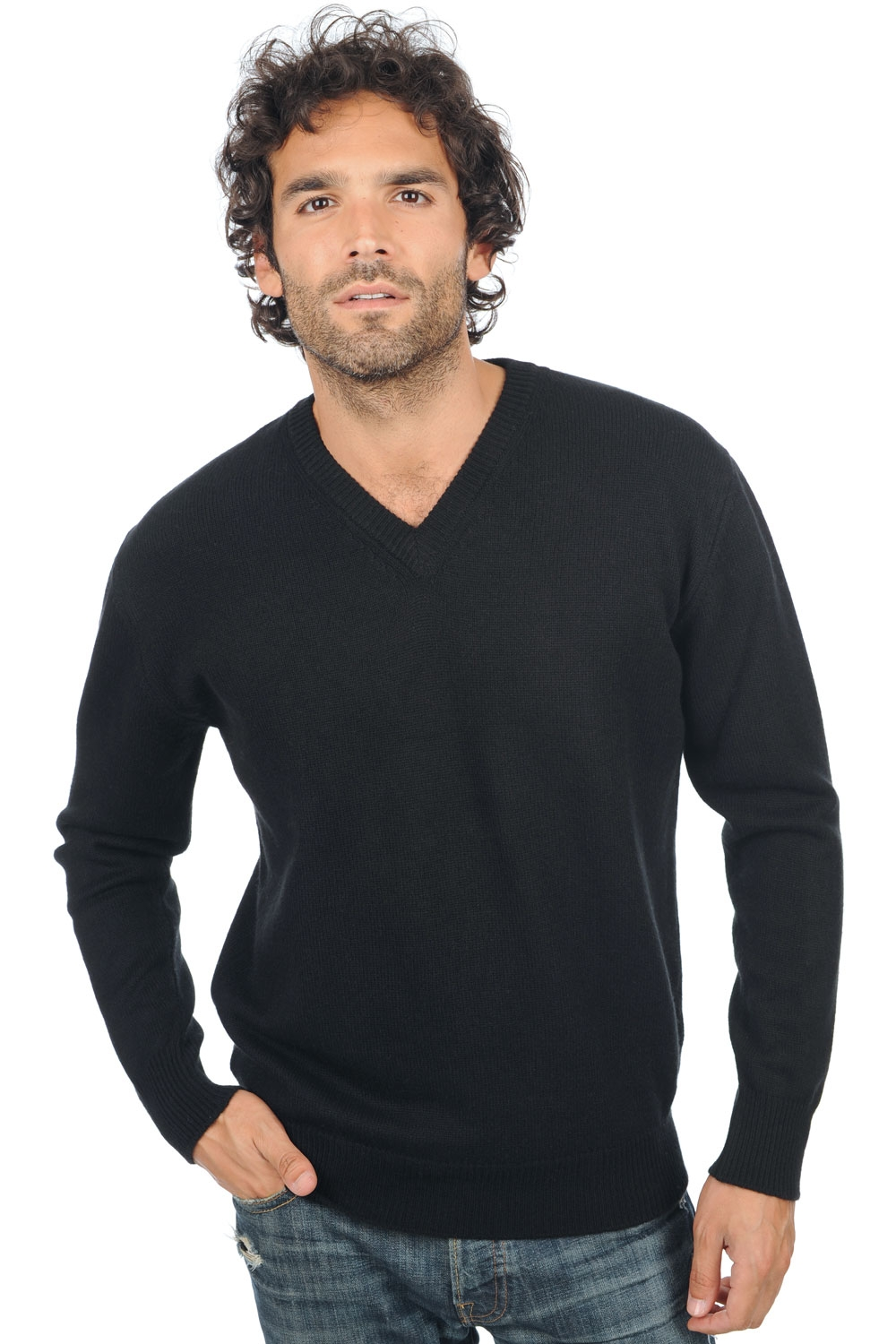 Cashmere men v necks hippolyte 4f premium black l