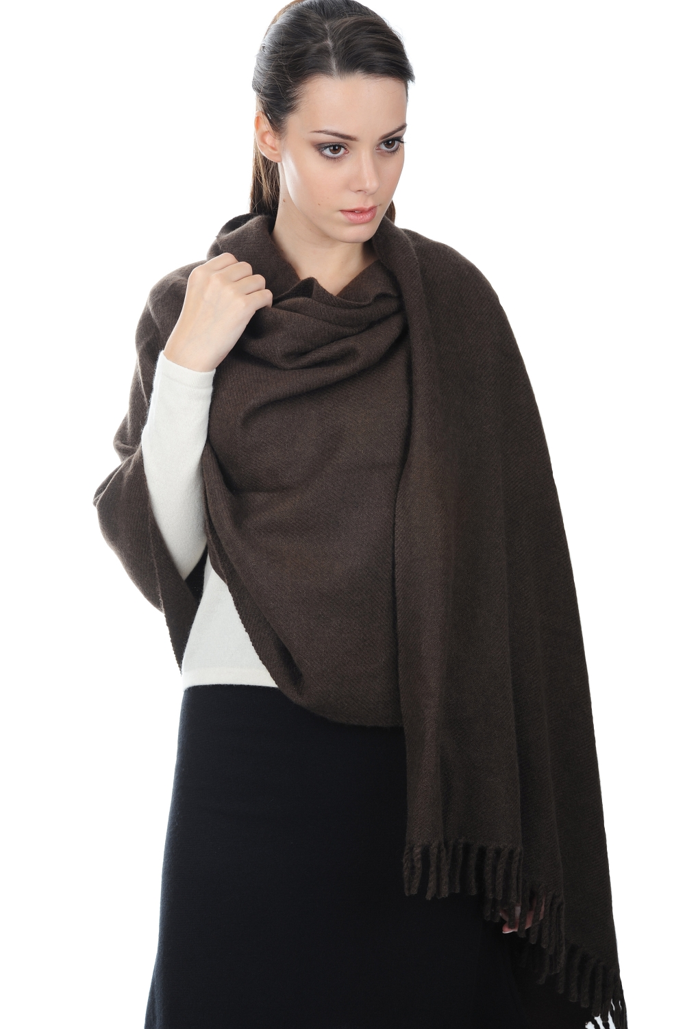 Yak accessories shawls yakniry natural marron 200x90cm