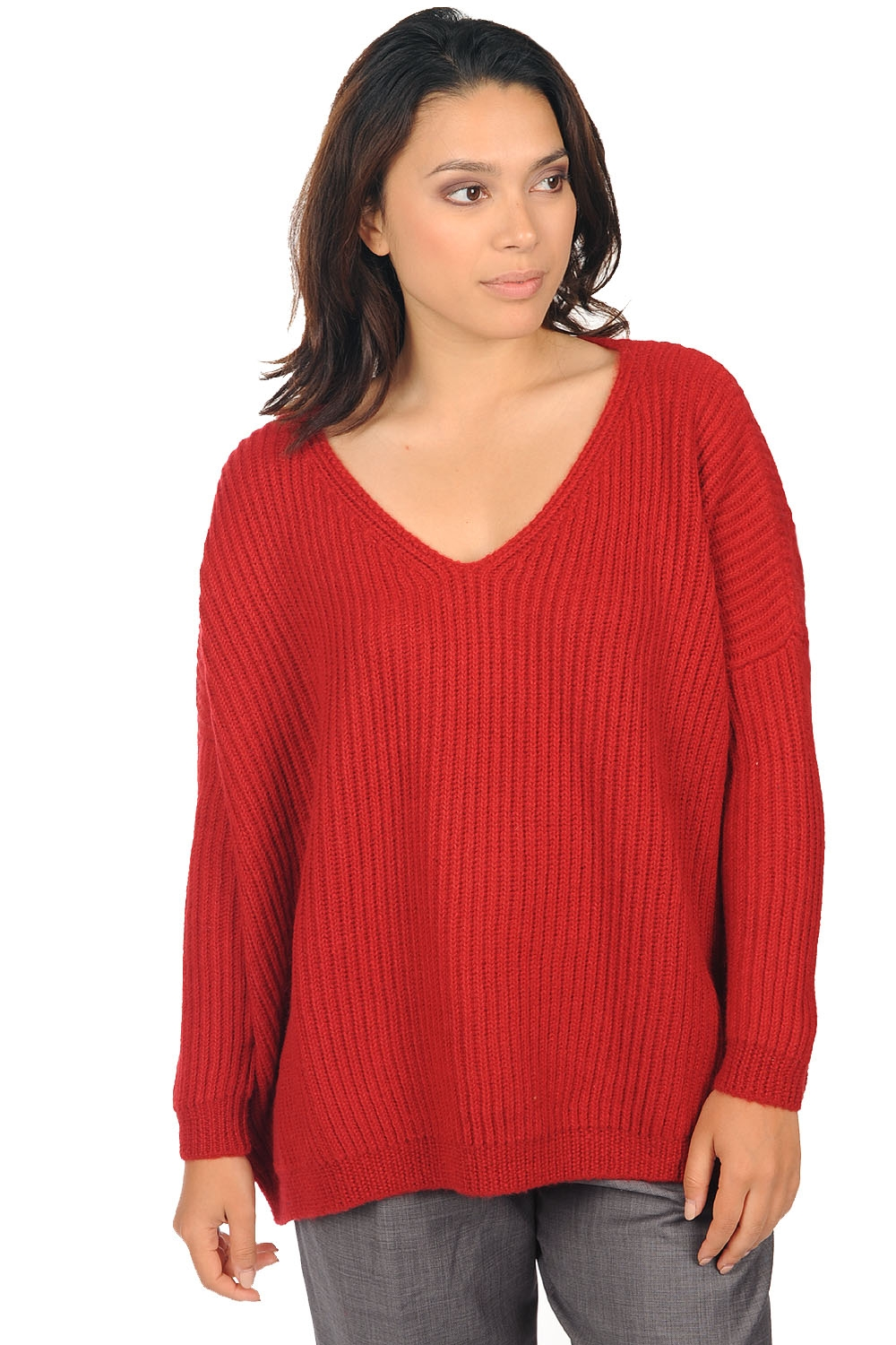 baby alpaca ladies v necks laziza red s2
