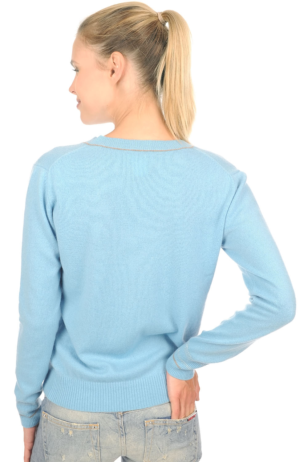 cashmere ladies v necks emerson teal blue natural brown m