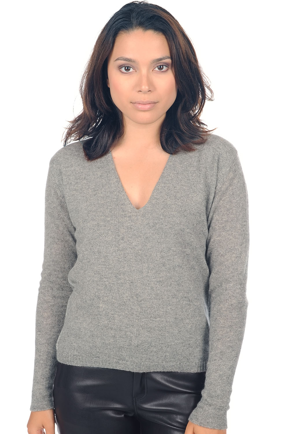 cashmere ladies v necks janice grey marl s