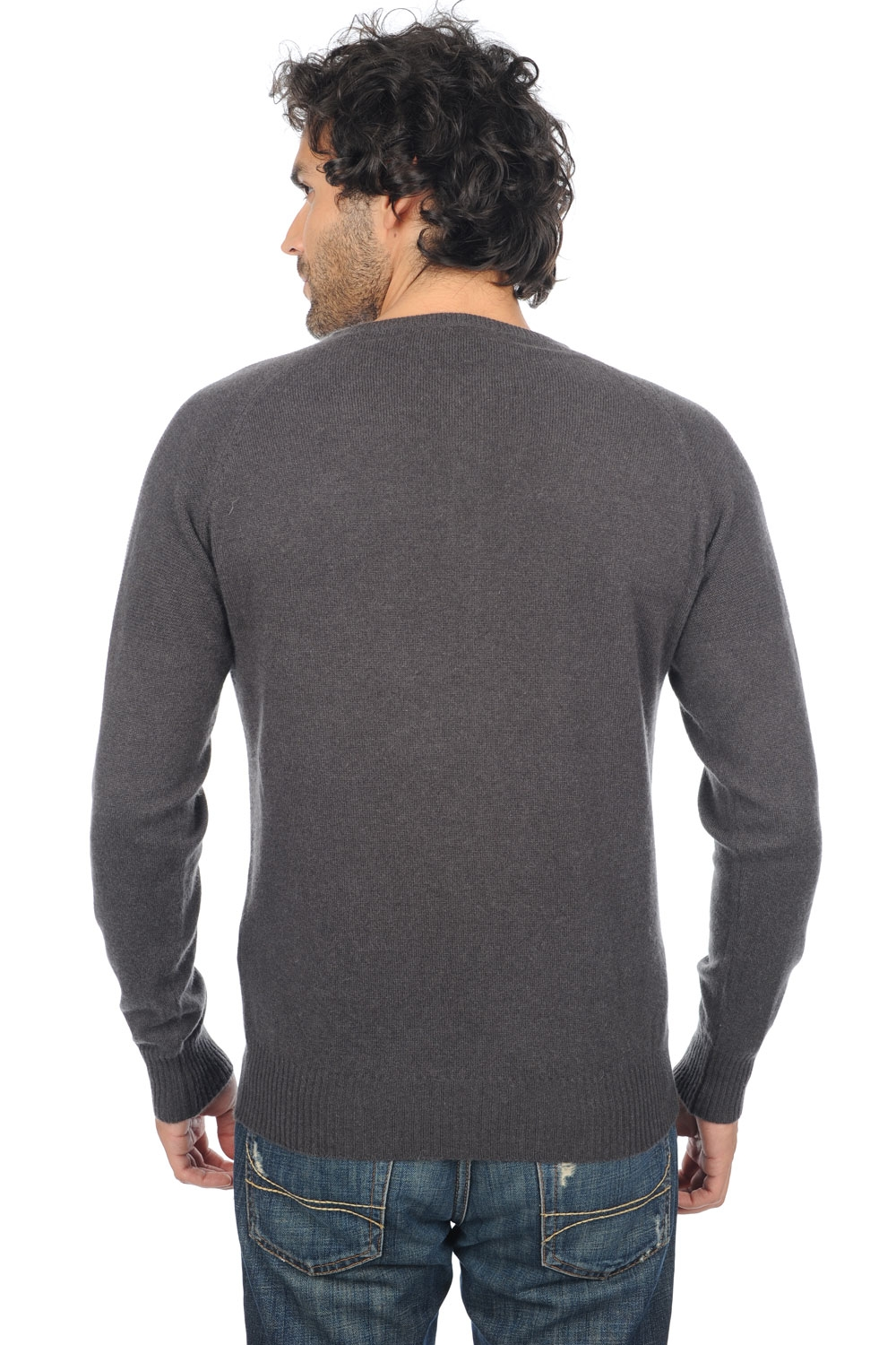 cashmere men polo style sweaters gustave matt charcoal azur blue chine m