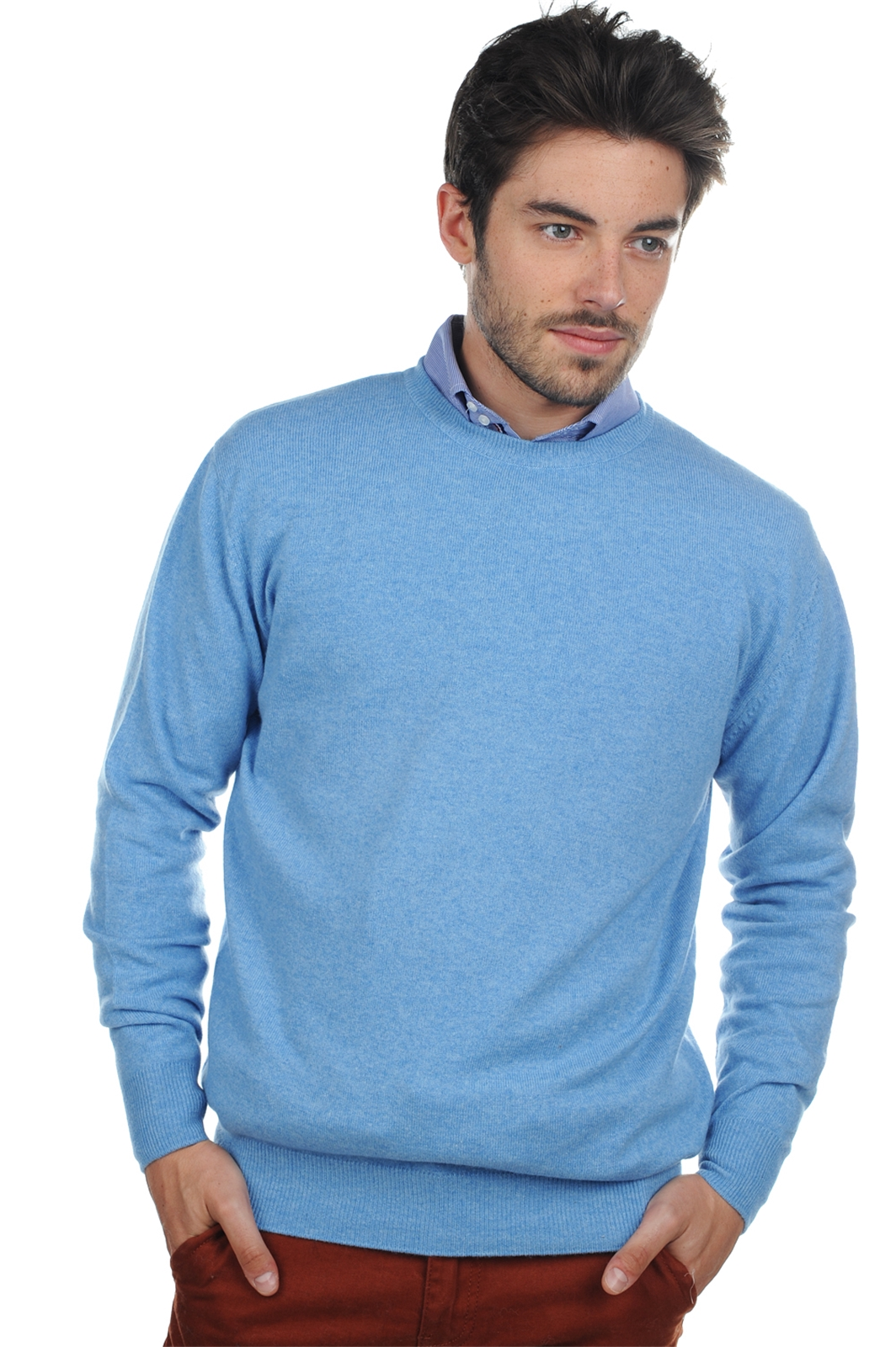 cashmere men round necks nestor azur blue chine l