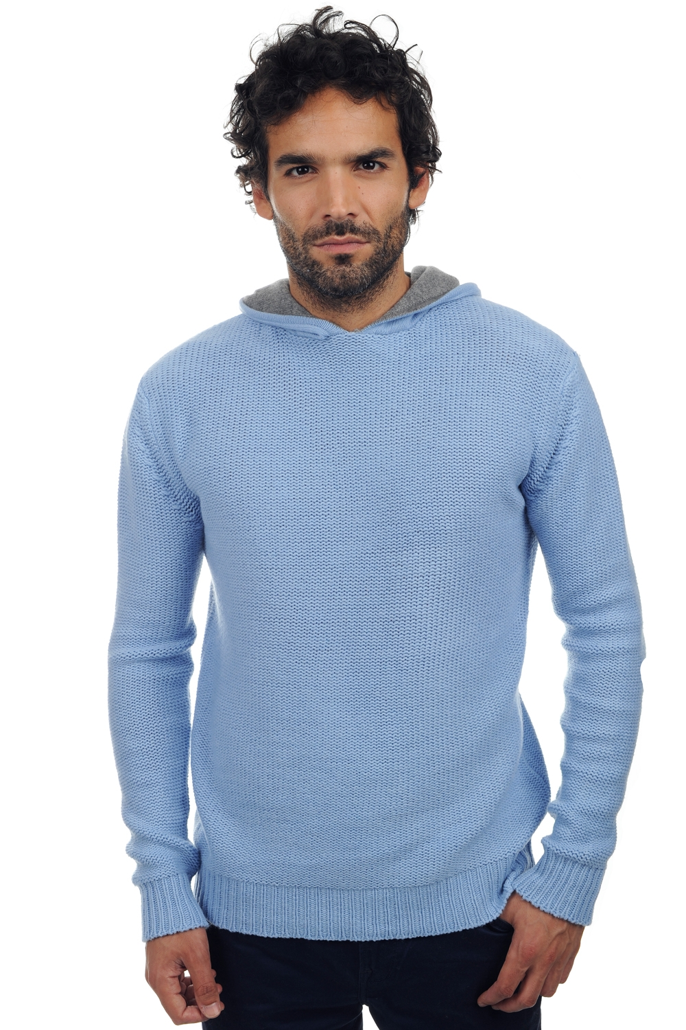 yak men chunky sweater conor sky blue grey marl l